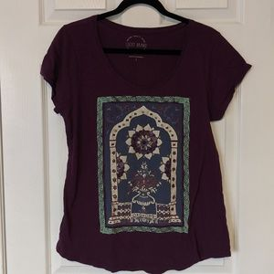 Lucky Brand Large Hippie Boho Purple Tee